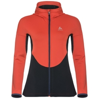 Hoody midlayer full zip KOYA, fiery red - diving navy, large
