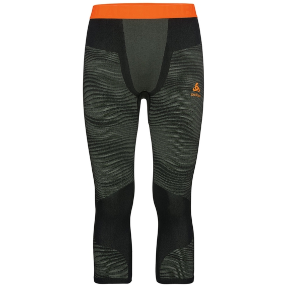 Men's BLACKCOMB 3/4 Base Layer Pants, climbing ivy - black - orange clown fish, large