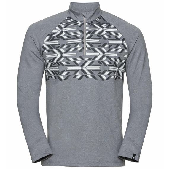 Top midlayer con mezza zip PAZOLA RIBBON da uomo, grey melange - graphic FW20, large