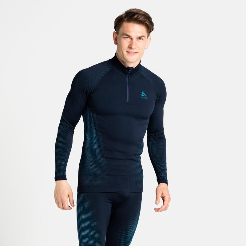 Men's PERFORMANCE WARM ECO ½ Zip Turtleneck Base Layer Top, dark sapphire - stunning blue, large