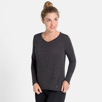 Women's LOU LINENCOOL Long-Sleeve Top, black melange, large