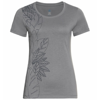 Women's CONCORD ELEMENT T-Shirt, grey melange - flower leaf print SS20, large