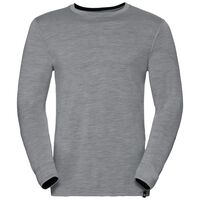 Natural 100 Merino Warm baselayer shirt men, grey melange - black, large
