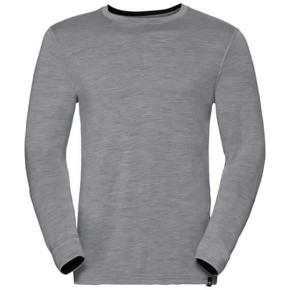 Natural 100 Merino Warm baselayer shirt men, grey melange - black, large