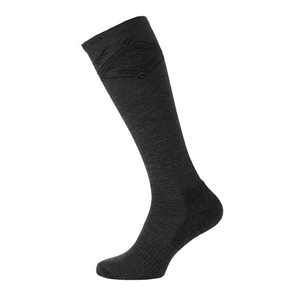 Socks extra long Natural+ Warm, black - odlo graphite grey melange, large