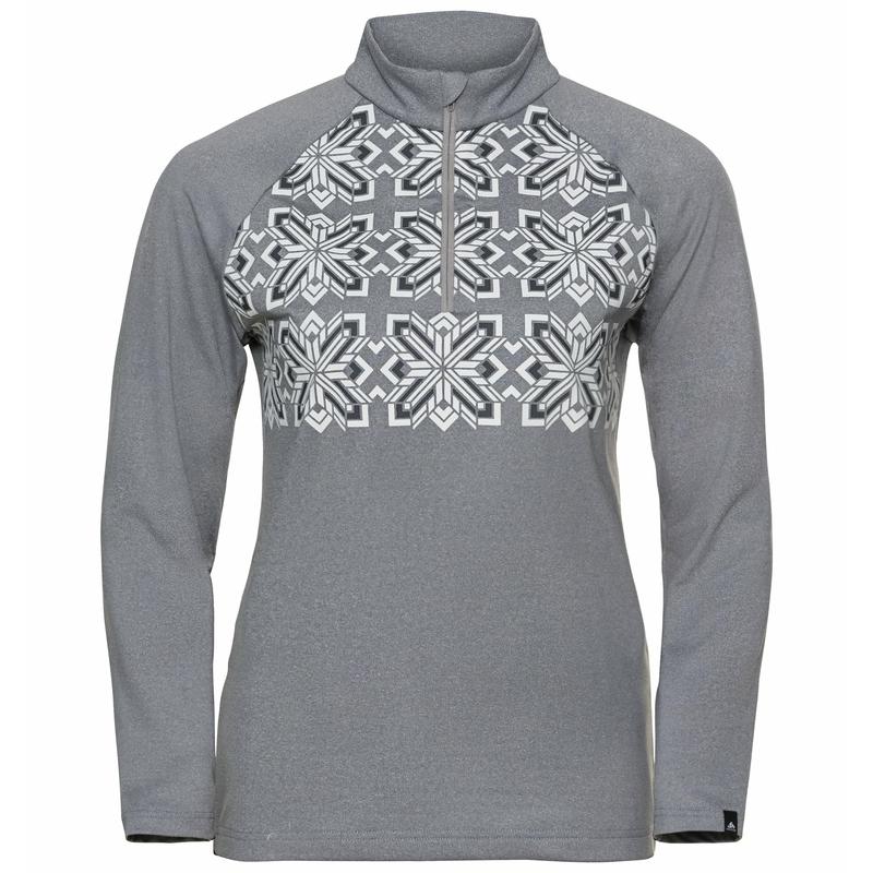 Women's PAZOLA RIBBON Half-Zip Mid Layer Top, grey melange - graphic FW20, large