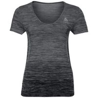 BL Top V-neck s/s MaIa Seamless, odlo steel grey - black, large