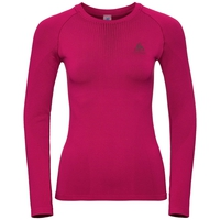 PERFORMANCE WARM-basislaagtop met lange mouwen voor dames, cerise - decadent chocolate, large