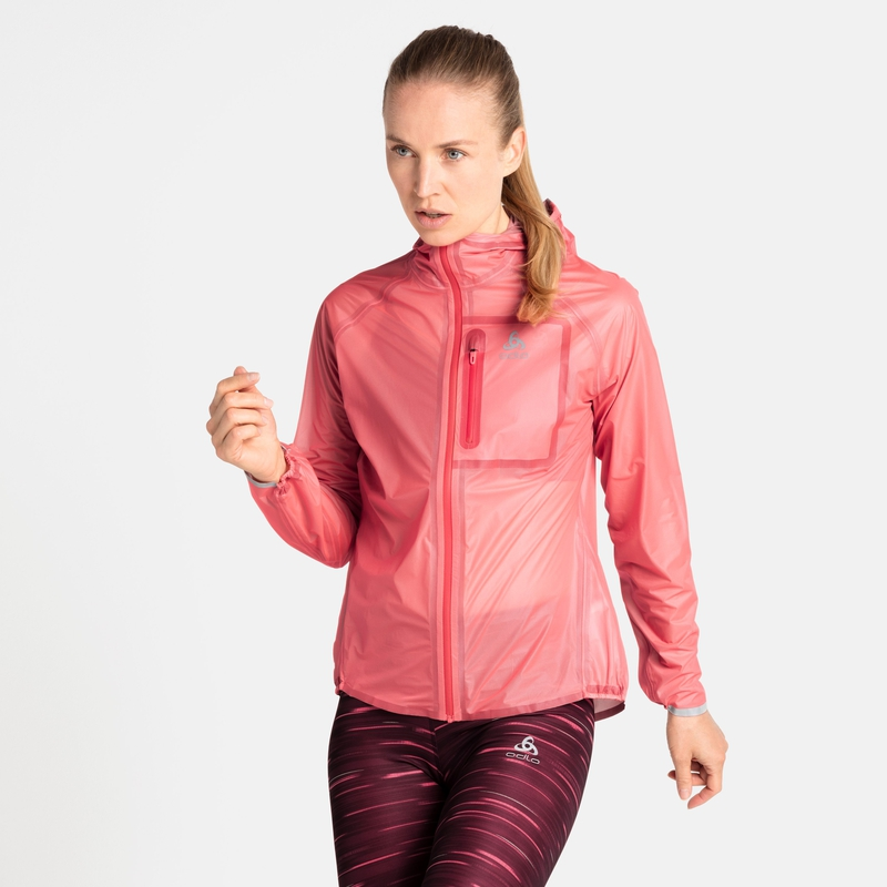 Women's ZEROWEIGHT DUAL DRY Waterproof Running Jacket, siesta, large