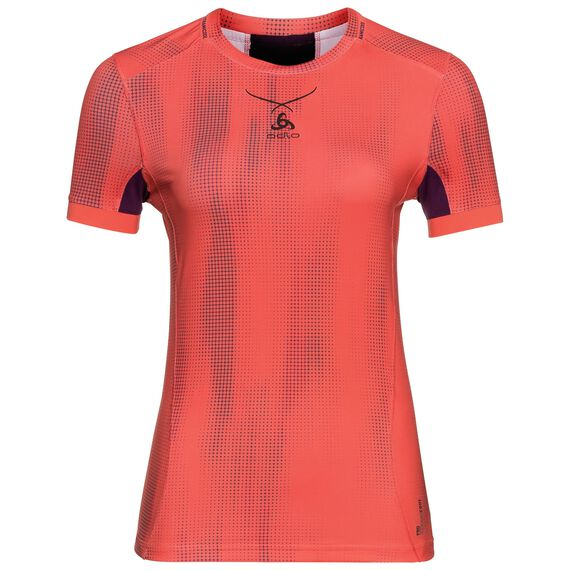 Ceramicool pro baselayer shirt with print women, hot coral - pickled beet, large