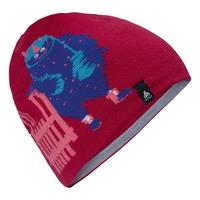 KIDS MID GAGE REVERSIBLE Hat, cerise - grey melange - stripes, large