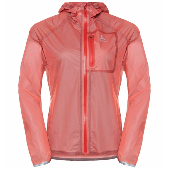Women's ZEROWEIGHT DUAL DRY Waterproof Running Jacket, hot coral, large
