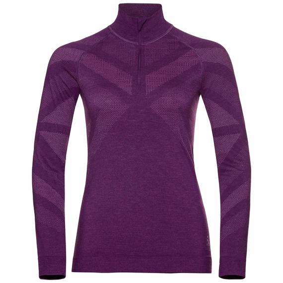 Women's NATURAL + KINSHIP WARM Half-Zip Turtleneck Baselayer Top, charisma melange, large