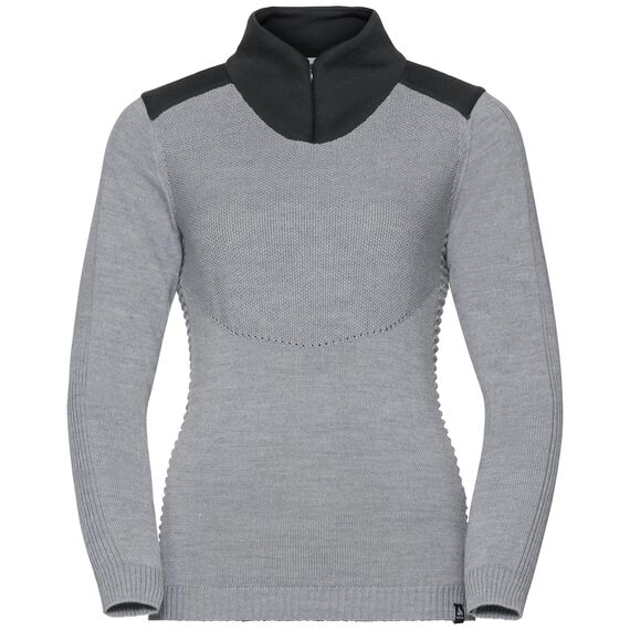 Midlayer 1/2 zip X POD HYBRID, grey melange - odlo graphite grey, large