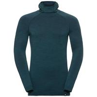 Men's NATURAL + KINSHIP WARM Base Layer Top with Face Mask, blue coral melange, large