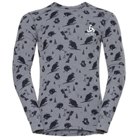 SUW Top Crew neck l/s ACTIVE ORIGINALS Warm GOD JUL PRINT, grey melange - diving navy - AOP FW18, large
