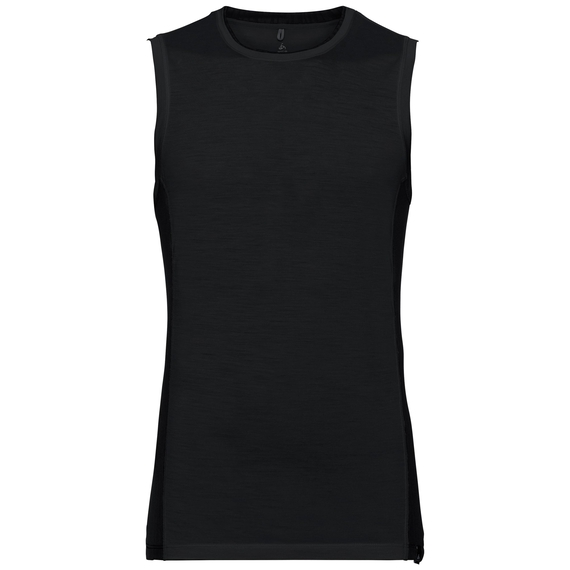 SUW TOP Crew neck Singlet NATURAL + CERAMIWOOL LIGHT, black, large