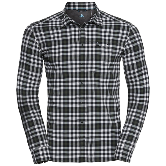 FAIRVIEW Shirt longsleeve men, climbing ivy - snow white - black - check, large