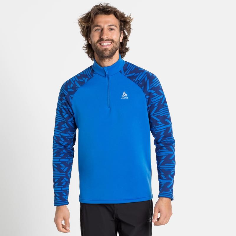 Men's SNOWCROSS 1/2 Zip Mid Layer, directoire blue - graphic FW20, large