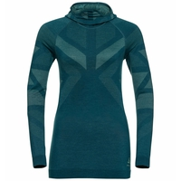 Damen NATURAL + KINSHIP WARM Baselayer-Top mit Kapuze, submerged melange, large