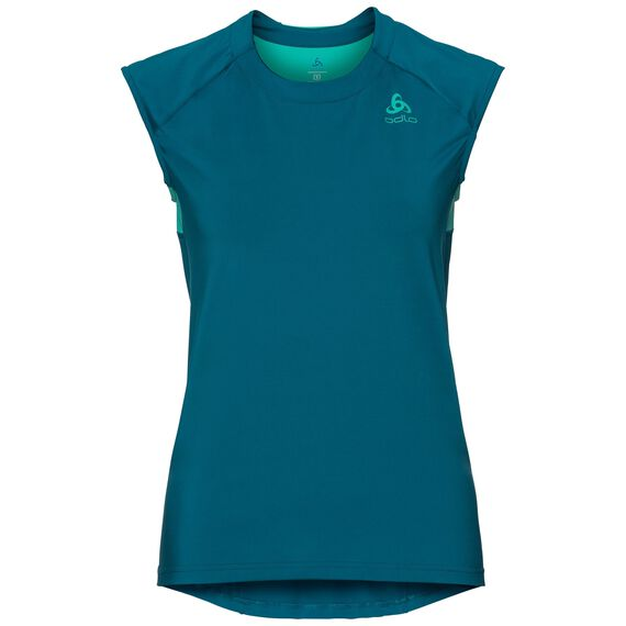 BL TOP Crew neck s/s Ceramicool, crystal teal - pool green, large