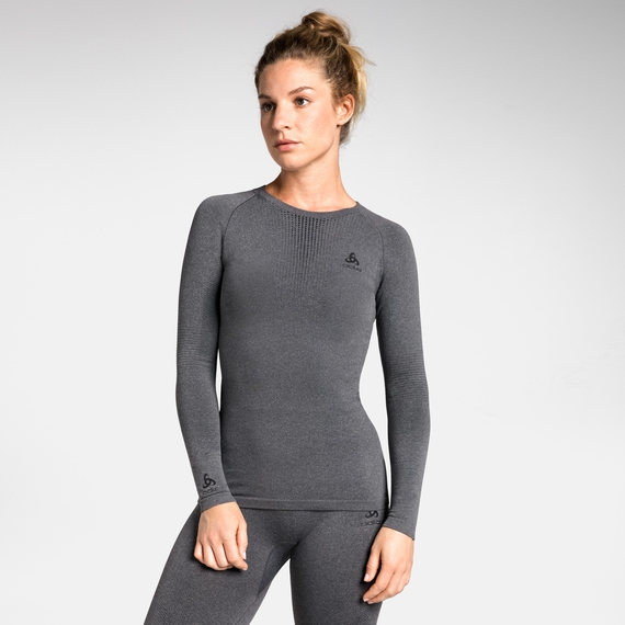 Women's PERFORMANCE WARM Long-Sleeve Baselayer Top, grey melange - black, large