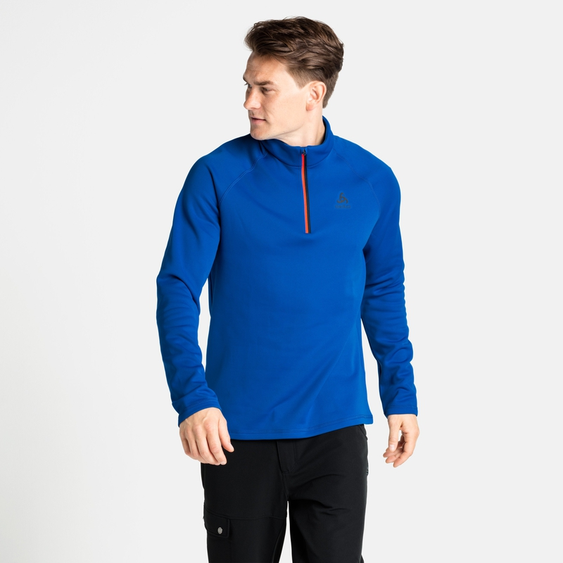 The Besso long sleeve mid layer half zip, nautical blue, large