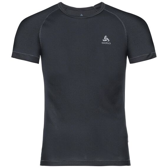 SUW TOP Crew neck s/s ACTIVE Cubic LIGHT, ebony grey - black, large