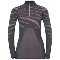 Women's BLACKCOMB 1/2 Zip Turtle-Neck Long-Sleeve Base Layer Top, odyssey gray - mesa rose, large