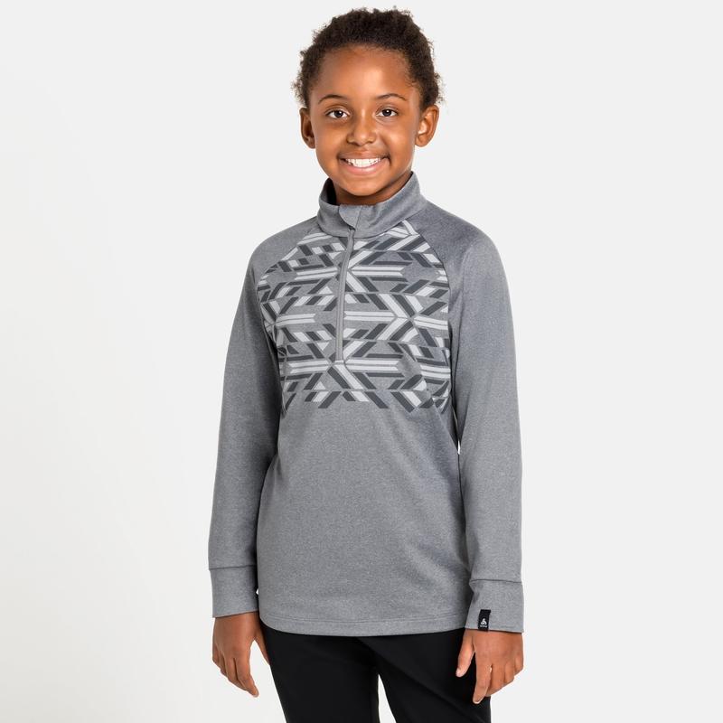 Kids' PAZOLA RIBBON Half-Zip Mid Layer Top, grey melange - graphic FW20, large