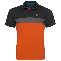 KUMANO LIGHT Poloshirt, black - odlo steel grey - flame, large