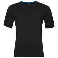 Natural 100 Merino Warm baselayer shirt short sleeve men, black - mykonos blue, large