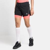 Short de running 2-en-1 AXALP TRAIL 15 cm pour femme, black - siesta, large