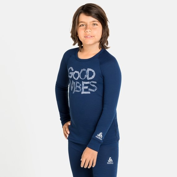 ACTIVE WARM ECO TREND KIDS Long-Sleeve Baselayer Top, estate blue - graphic FW20, large