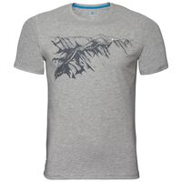 BL TOP Crew neck s/s NIKKO PRINT, grey melange - placed print SS19, large