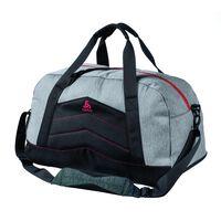Bag ACTIVE, grey melange - chinese red, large