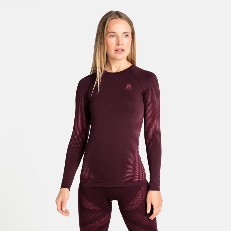 Women's PERFORMANCE WARM ECO Long-Sleeve Base Layer, winetasting - deep claret, large
