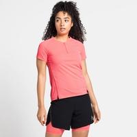 AXALP TRAIL-hardloop-T-shirt met halve rits voor dames, siesta, large