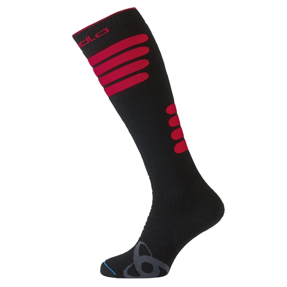 Socks extra long SKI CERAMIWARM, black - fiery red, large