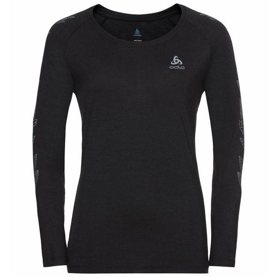 Women's CONCORD Long-Sleeve T-Shirt, black - leaves on sleeve print SS20, large