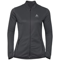 Women's FLI CERAMIWARM Full-Zip Midlayer Top, black - odlo graphite grey - stripes, large