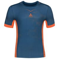 Ceramicool pro baselayer shirt with print men, blue opal - orangeade, large