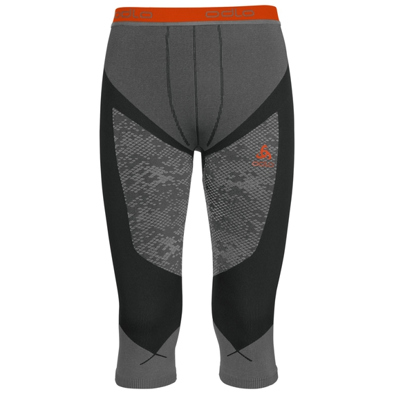 Pants 3/4 Blackcomb EVOLUTION WARM, black - odlo concrete grey - orangeade, large