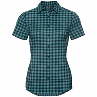 Women's KUMANO CHECK Blouse, diving navy - baltic - check, large