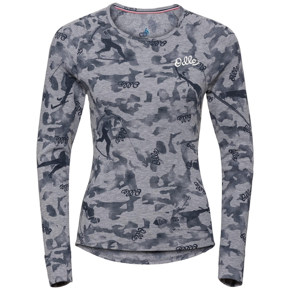 Women's ACTIVE WARM ORIGINALS Long-Sleeve Base Layer Top, grey melange - AOP FW19, large