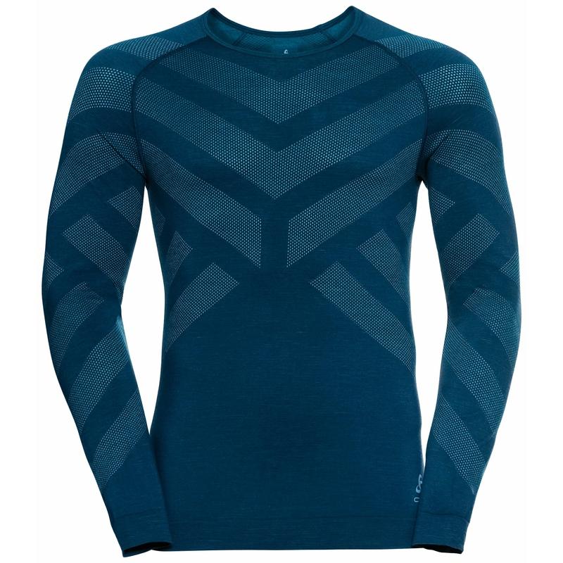 Herren NATURAL + KINSHIP WARM Base Layer Shirt, deep dive melange, large
