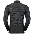 Men's BLACKCOMB 1/2 Zip Turtle-Neck Long-Sleeve Base Layer Top, black - odlo steel grey - silver, large