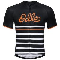 Maillot Cycle zippé à manches courtes FUJIN PRINT pour homme, black - white - retro, large