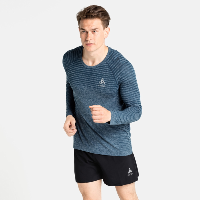Men's ESSENTIAL SEAMLESS Long-Sleeve Running T-Shirt, deep dive melange, large
