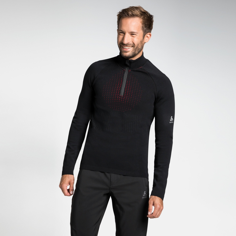 Men's I-THERMIC 1/2 Zip Mid Layer, black, large